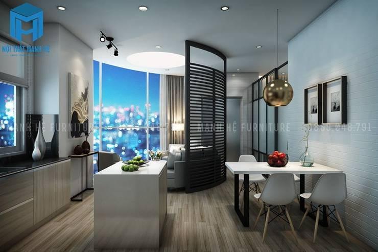 Nội thất căn hộ 54m2 hiện đại và sang trọng:  Phòng khách by Công ty TNHH Nội Thất Mạnh Hệ