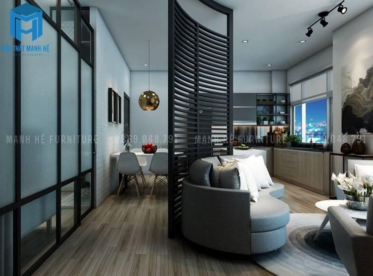 Vách ngăn tường phòng khách và phòng bếp:  Phòng khách by Công ty TNHH Nội Thất Mạnh Hệ