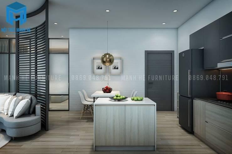 Phòng ăn và phòng bếp với diện tích nhỏ nhưng đầy đủ tiện nghi:  Phòng ăn by Công ty TNHH Nội Thất Mạnh Hệ