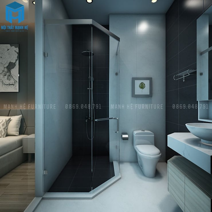 Nội thất nhà tắm đẹp, sang chảnh:  Phòng tắm by Công ty TNHH Nội Thất Mạnh Hệ