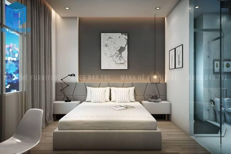 Phòng ngủ trầm ấm với tone màu xám ghi:  Phòng ngủ by Công ty TNHH Nội Thất Mạnh Hệ