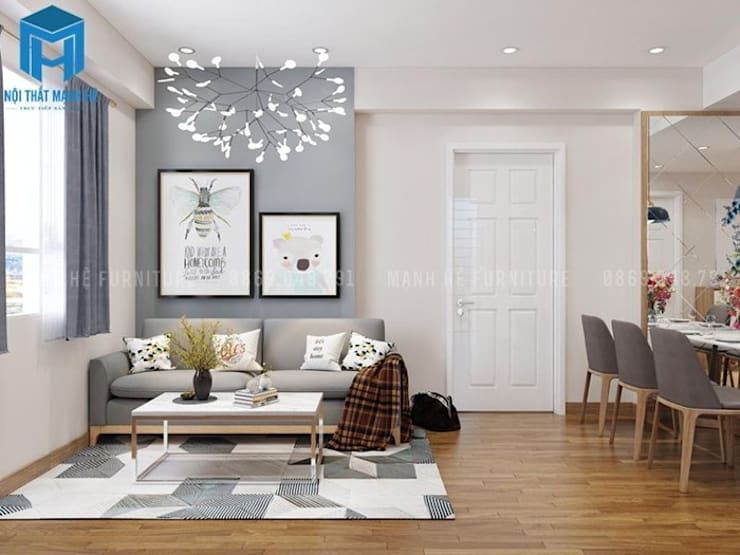 Phòng khách trở nên thoáng đãng hơn với cửa sổ có hai lớp rèm cùng giấy dán tường mang gam màu tươi sáng:  Phòng khách by Công ty TNHH Nội Thất Mạnh Hệ