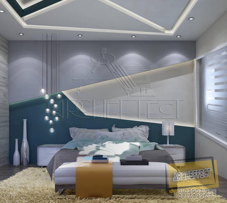 مشروع فيلا القاهره الجديدة:  غرفة نوم تنفيذ Archeffect, حداثي