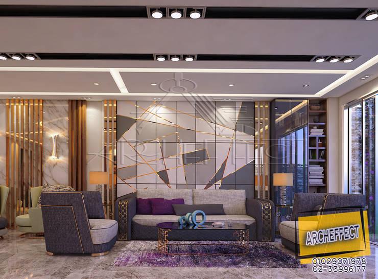 مشروع فيلا القاهره الجديدة:  غرفة المعيشة تنفيذ Archeffect, حداثي