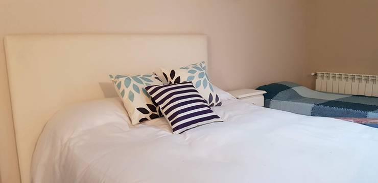 Dormitorio - cama con almohadones nuevos: Dormitorios de estilo  por MSBergna.com,