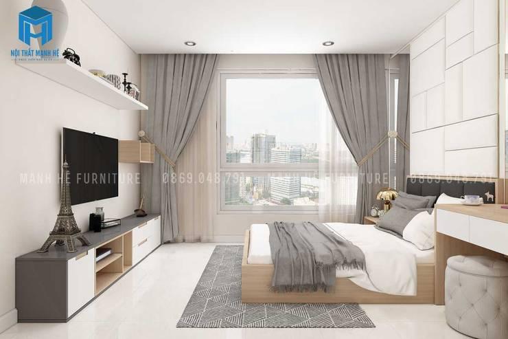Rèm cửa màu xám giúp cản ánh sáng cho căn phòng:  Phòng ngủ by Công ty TNHH Nội Thất Mạnh Hệ