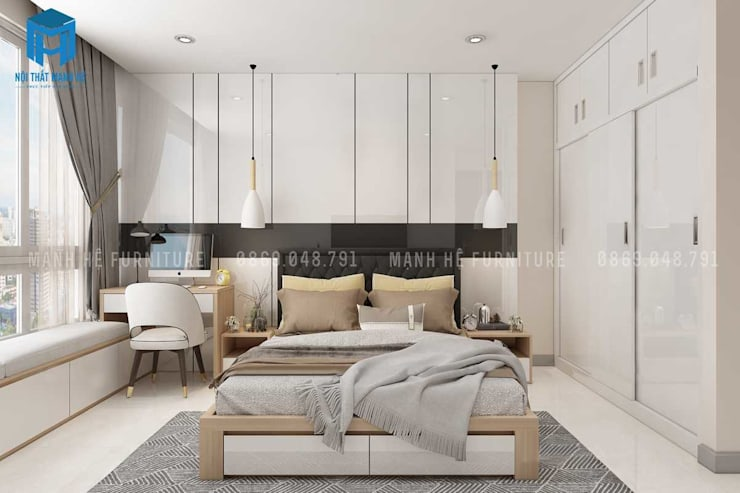 Vách tường ốp mút màu trắng đơn giản:  Phòng ngủ by Công ty TNHH Nội Thất Mạnh Hệ