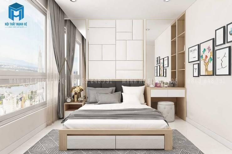 Thiết kế nội thất phòng ngủ ưu tiên ánh sáng tự nhiên, tốt cho sức khỏe:  Phòng ngủ by Công ty TNHH Nội Thất Mạnh Hệ