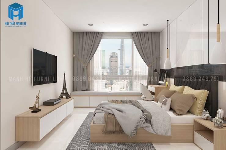 Cửa sổ phòng nhìn ra view toàn cảnh thành phố khá đẹp:  Phòng ngủ by Công ty TNHH Nội Thất Mạnh Hệ