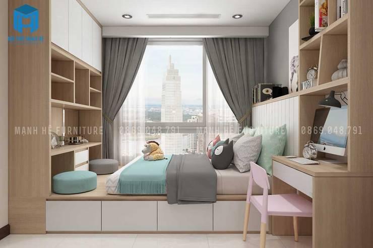 Tủ gỗ làm kệ sách ở hai đầu giường khá tiện ích:  Phòng ngủ by Công ty TNHH Nội Thất Mạnh Hệ