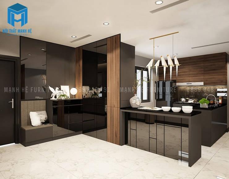 Thiết kế nội thất phòng bếp nối từ phòng khách:  Phòng ăn by Công ty TNHH Nội Thất Mạnh Hệ