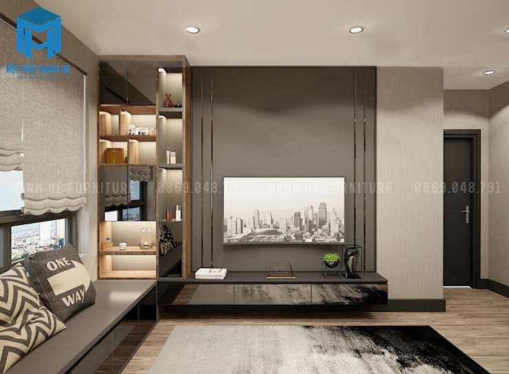 Phòng ngủ được trang trí bằng tranh treo tường khá hiện đại:  Phòng ngủ by Công ty TNHH Nội Thất Mạnh Hệ