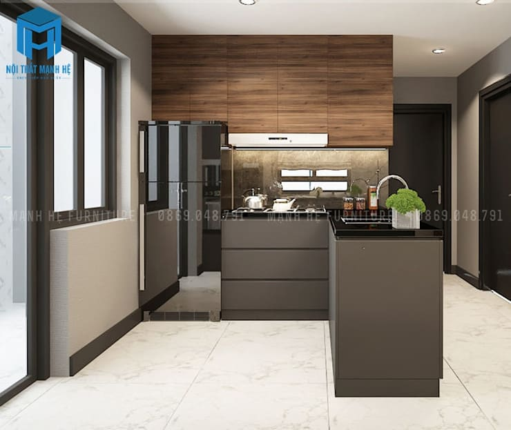 Không gian phòng bếp hiện đại và ấm cúng:  Phòng ăn by Công ty TNHH Nội Thất Mạnh Hệ