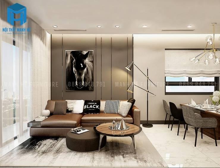 Nội thất phòng khách được thiết kế khá đơn giản nhưng vẫn mang lại tính đẳng cấp cho căn nhà:  Phòng khách by Công ty TNHH Nội Thất Mạnh Hệ