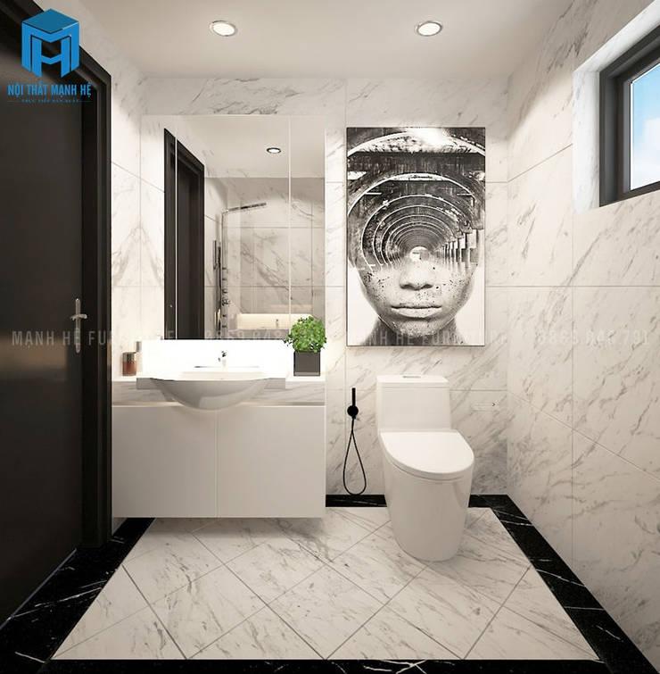 Trang trí tường nhà tắm rất nghệ thuật:  Phòng tắm by Công ty TNHH Nội Thất Mạnh Hệ
