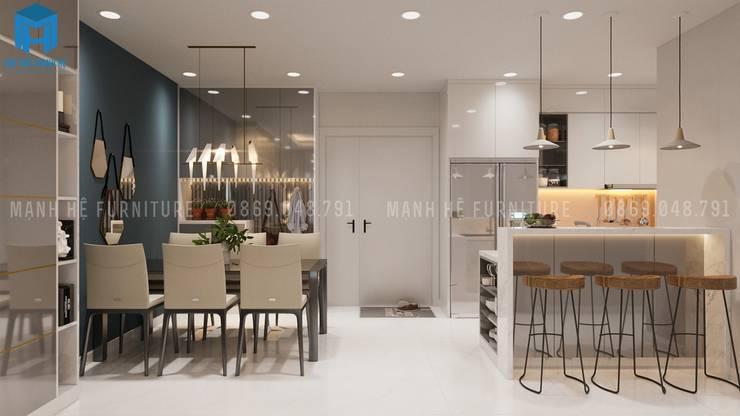 Không gian phòng bếp hiện đại và sang chảnh:  Phòng ăn by Công ty TNHH Nội Thất Mạnh Hệ