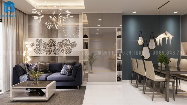 Không gian phòng khách nối liền với phòng bếp:  Phòng khách by Công ty TNHH Nội Thất Mạnh Hệ
