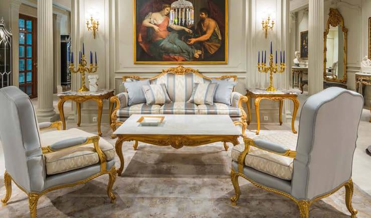 OAK家具古典工藝設計,客廳臥室雙人床 :  客廳 by 北京恒邦信大国际贸易有限公司