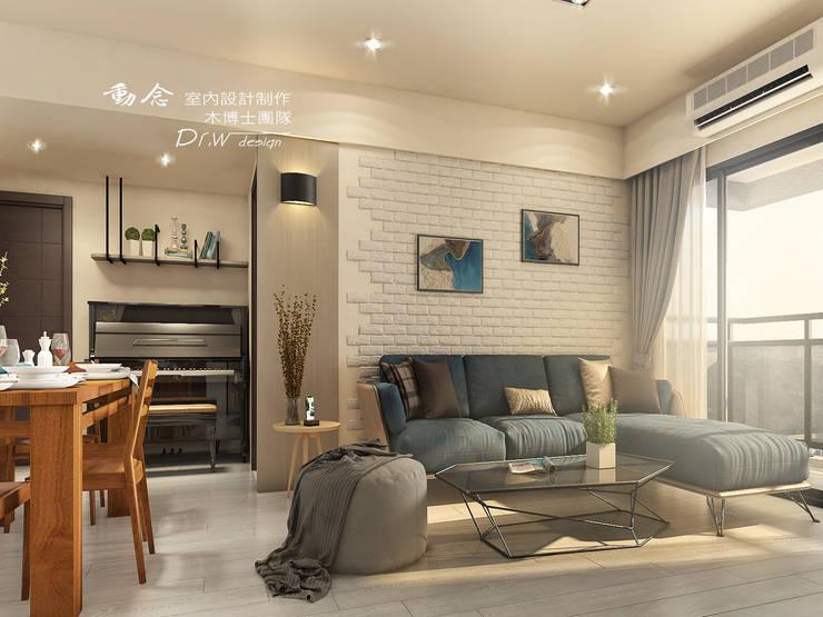 客廳/文化石/沙發背牆:  客廳 by 木博士團隊/動念室內設計制作