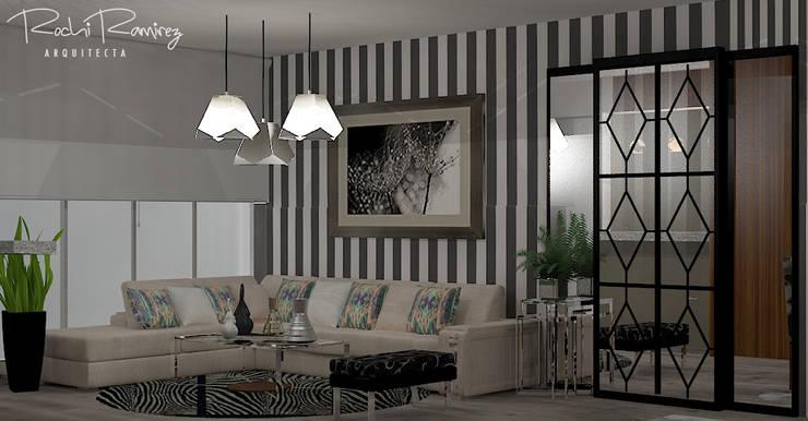 SALA OPCION 3: Salas / recibidores de estilo  por Estudio R&R