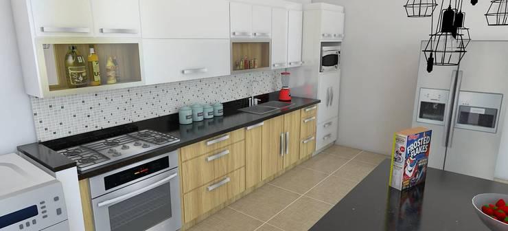 modelado de cocina: Cocinas integrales de estilo  por Arquitectura e Ingenieria GM S.A.S