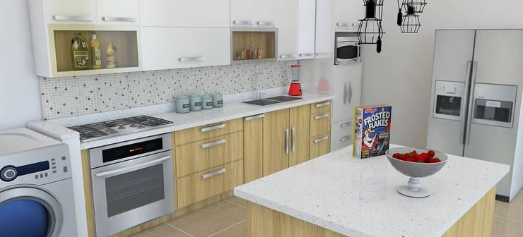 Modelado 3d -para nuestros proyectos: Cocinas integrales de estilo  por Arquitectura e Ingenieria GM S.A.S