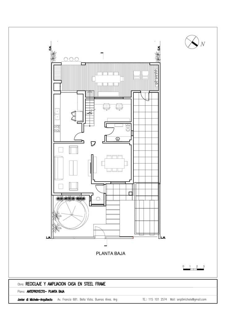 AMPLAICION Y RECICLAJE DE VIVIENDA UNIFAMILIAR :  de estilo  por Javier di Michele, Arquitecto