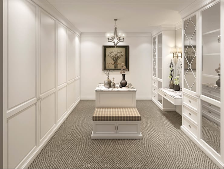 Colonial Style at Ringwood Road:  Dressing room by Singapore Carpentry Interior Design Pte Ltd