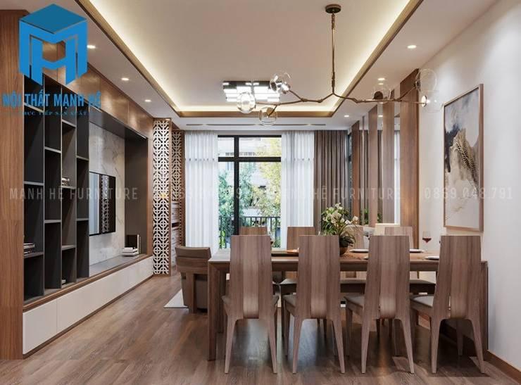 Không gian phòng khách và phòng bếp liền kề nhau:  Phòng khách by Công ty TNHH Nội Thất Mạnh Hệ