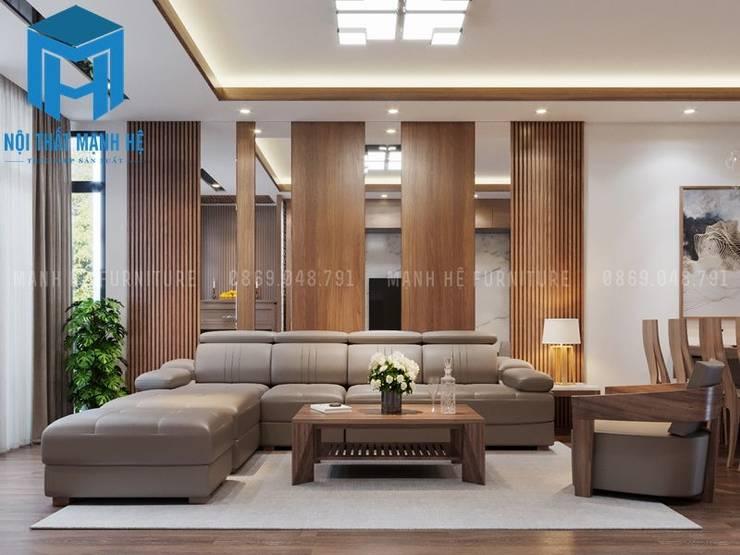 Bộ ghế sofa nệm khung gỗ khá sang trọng và hiện đại:  Phòng khách by Công ty TNHH Nội Thất Mạnh Hệ