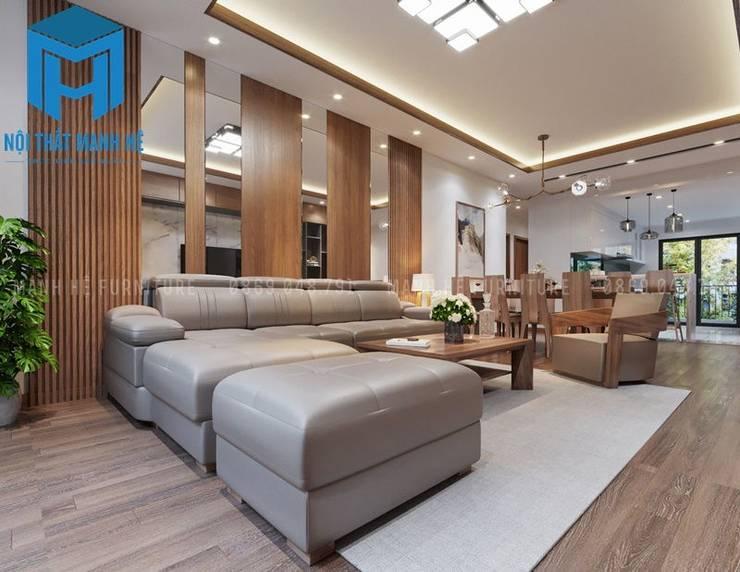 Tổng thể nội thất phòng khách và phòng bếp:  Phòng khách by Công ty TNHH Nội Thất Mạnh Hệ