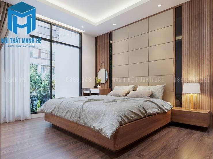 Phòng ngủ 1 với không gian khá rộng rãi và thoáng đãng:  Phòng ngủ by Công ty TNHH Nội Thất Mạnh Hệ