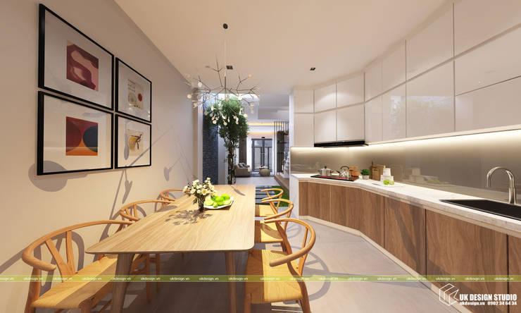 nội thất phòng bếp:  Phòng ăn by UK DESIGN STUDIO - KIẾN TRÚC UK
