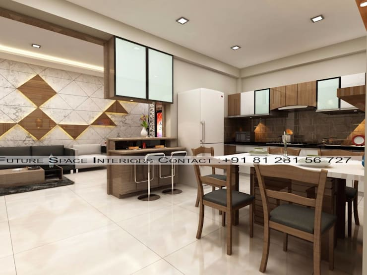 Kitchen and connected Dining room :  Kitchen by Future Space Interior