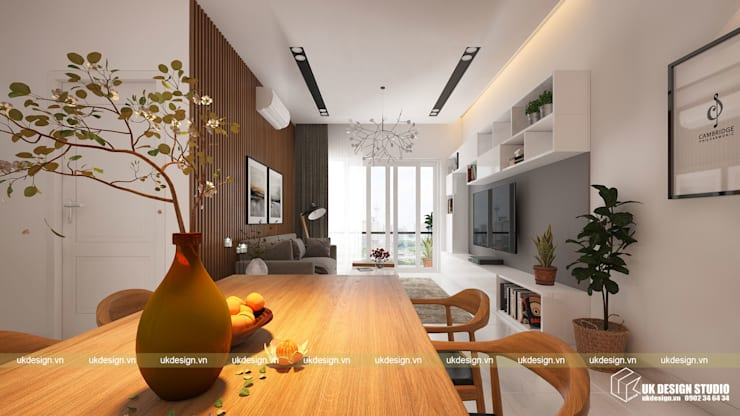 Thiết kế phòng khách:  Phòng khách by UK DESIGN STUDIO - KIẾN TRÚC UK