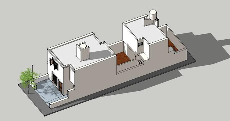 AXONOMETRICA DE COMPLEJO: Casas unifamiliares de estilo  por arq5912  Arquitectura y Construcción