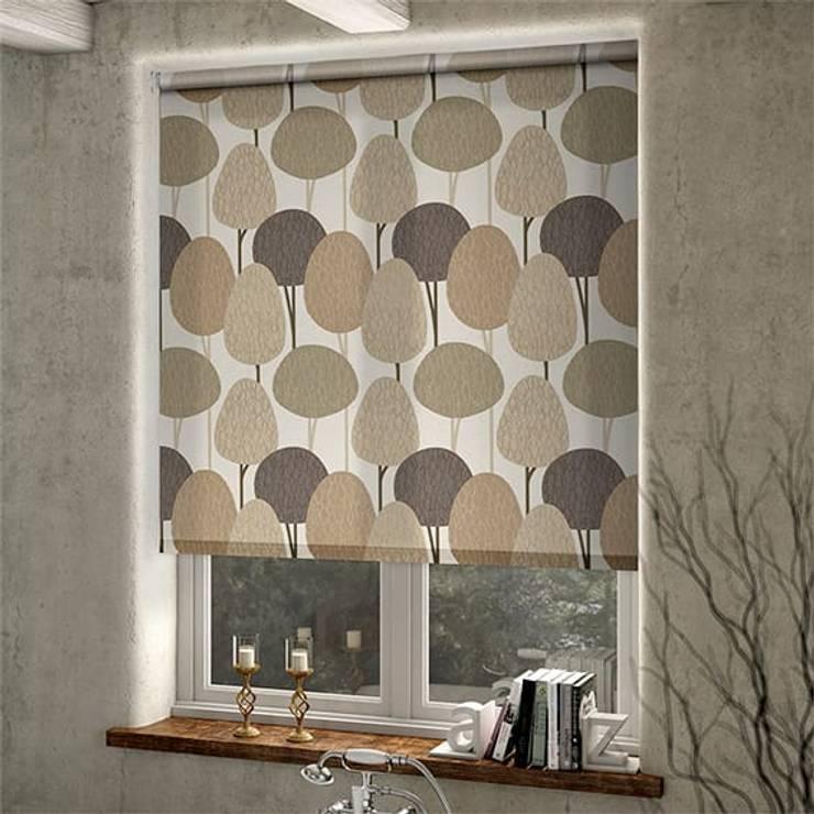 Armoni Perde Tasarım – Tuzla Desenli Stor Perde Çalışması: tarz Pencere & Kapılar