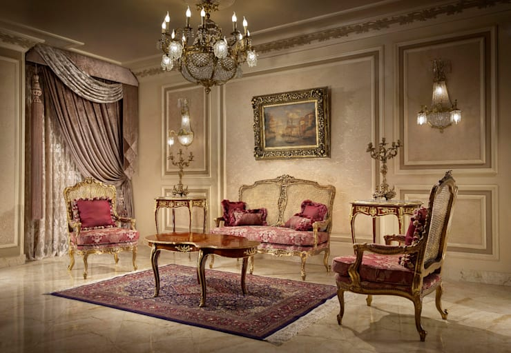French design salon:  غرفة المعيشة تنفيذ NADIA .Gallery