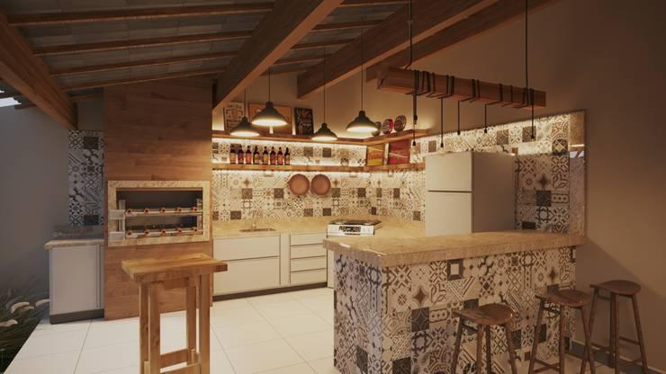 Área de Lazer Churrasqueira | RJ: Armários e bancadas de cozinha  por Gelker Ribeiro Arquitetura | Arquiteto Rio de Janeiro