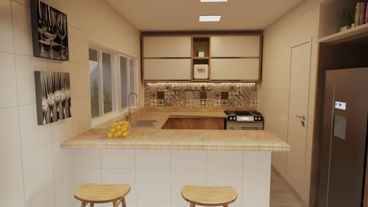 Projeto Casa LE |(Casa de praia Cabo-Frio - RJ: Cozinhas pequenas  por Gelker Ribeiro Arquitetura | Arquiteto Rio de Janeiro