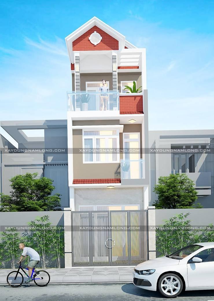Nhà mặt tiền 4m đẹp:  Nhà gia đình by Công ty cổ phần tư vấn kiến trúc xây dựng Nam Long