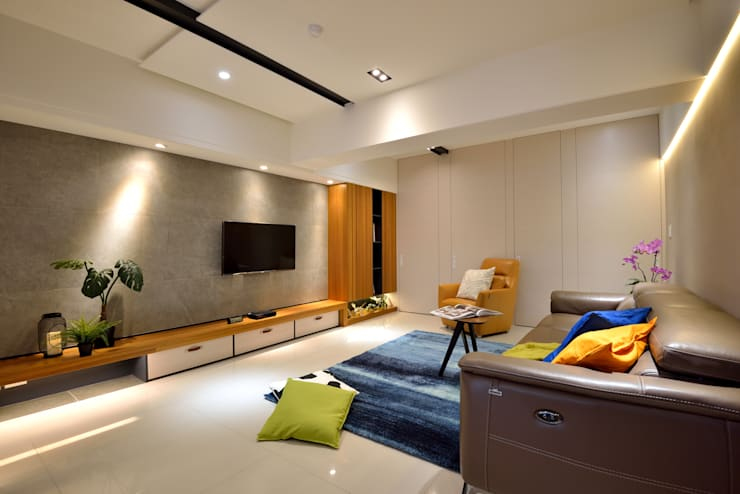 Salas / recibidores de estilo  por 星葉室內裝修有限公司,
