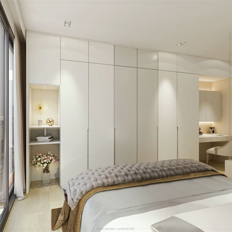 Modern Glamour at Holland Village Condo:  Bedroom by Singapore Carpentry Interior Design Pte Ltd
