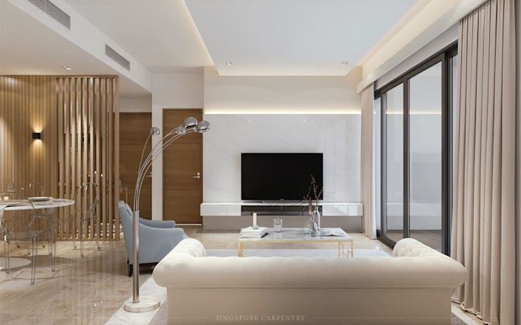 Modern Glamour at Holland Village Condo:  Living room by Singapore Carpentry Interior Design Pte Ltd