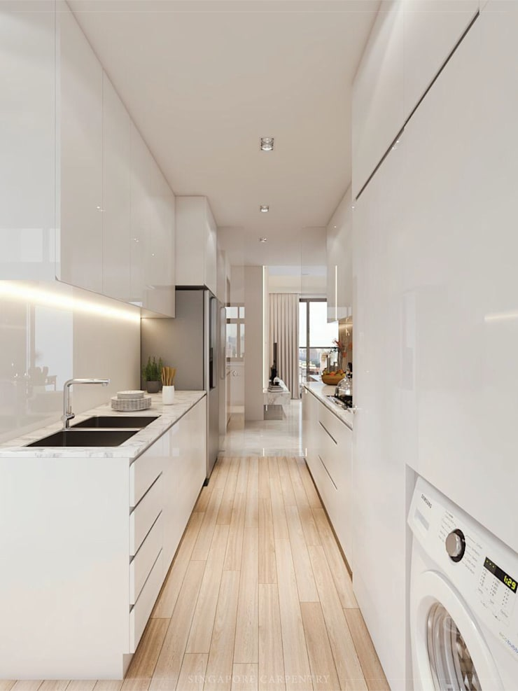 Modern Glamour at Holland Village Condo:  Kitchen by Singapore Carpentry Interior Design Pte Ltd