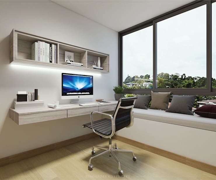 Modern Glamour at Holland Village Condo:  Study/office by Singapore Carpentry Interior Design Pte Ltd