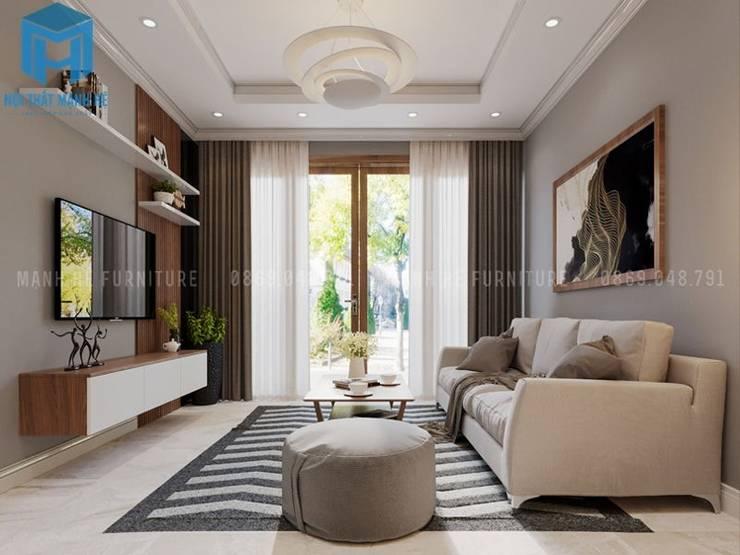 Không gian phòng khách hiện đại và đầy ánh sáng tự nhiên:  Phòng khách by Công ty TNHH Nội Thất Mạnh Hệ