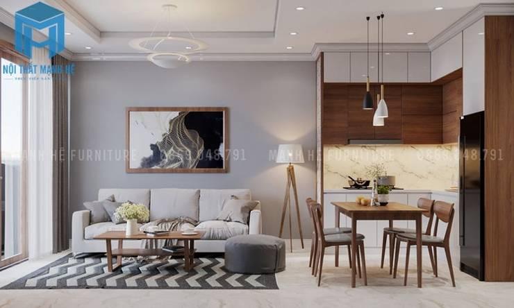 Phòng khách được kết hợp chung với phòng bếp khá tiện ích:  Phòng khách by Công ty TNHH Nội Thất Mạnh Hệ