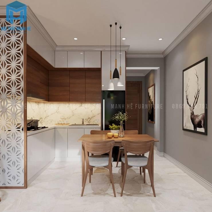 Bộ bàn ghế phòng bếp bằng gỗ tự nhiên :  Phòng khách by Công ty TNHH Nội Thất Mạnh Hệ
