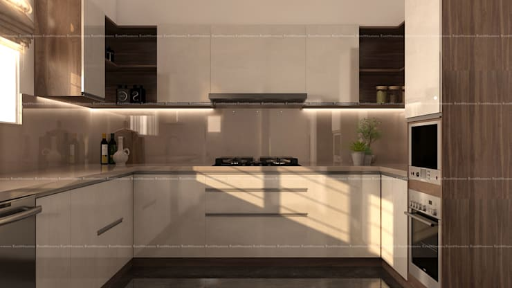 3BHK Interiors :  Kitchen by Fabmodula
